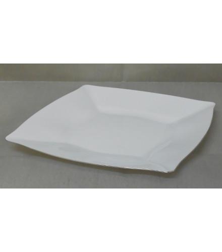 assiette carr e blanche argent 27 cm assiette jetable drag e d 39 amour. Black Bedroom Furniture Sets. Home Design Ideas