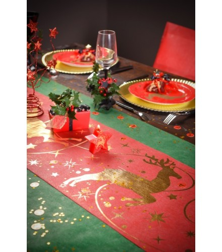chemin de table rennes de no l decoration de noel pas cher drag e d 39 amour. Black Bedroom Furniture Sets. Home Design Ideas