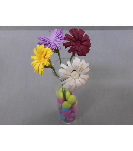 12 fleurs marguerites en papier avec tige métallique colorées