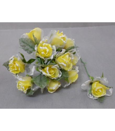 12 roses givrées déco dragées en toile de jute jaune