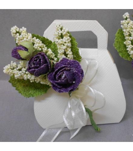 2 bouquets de fleurs 3 roses déco dragées parme/jaune