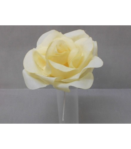 Grande rose en soie jaune avec tige métallique