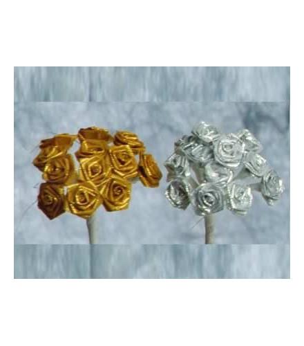 12 roses déco dragées brillantes dorées