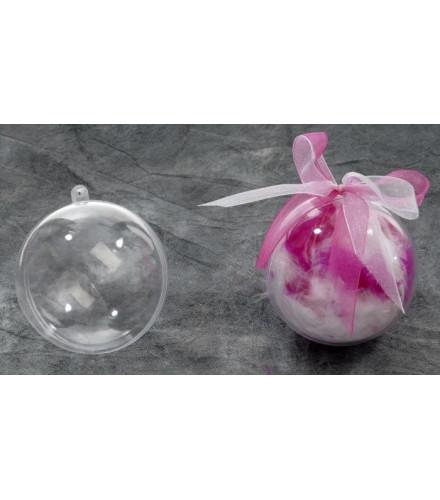 5 boules en plexi transparentes à dragées 8cm