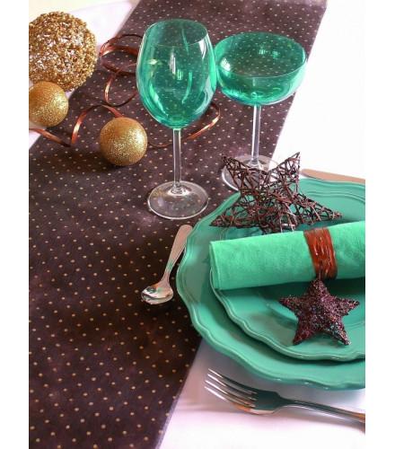 chemin de table jetable chocolat en tissu perl chic. Black Bedroom Furniture Sets. Home Design Ideas