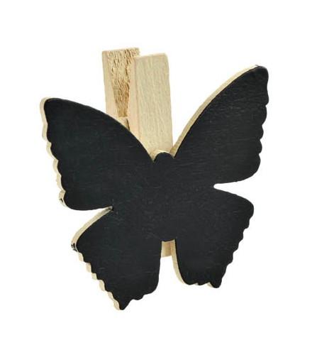 6 pinces déco originales colorées papillon en bois