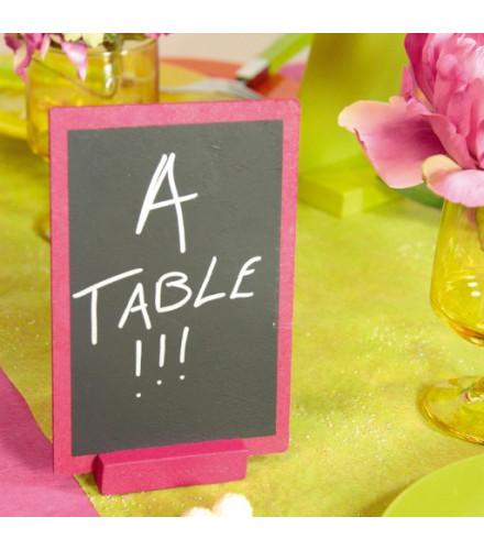 Porte-menu de table coloré en ardoise et bois