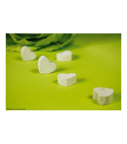 12 confettis cœur orange/turquoise en tissu non tissé déco