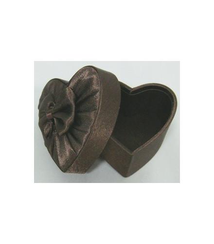 Boîte à dragées cœur chic en satin chocolat