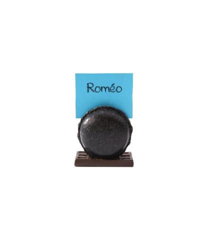 Porte-nom macaron noir pailleté en résine