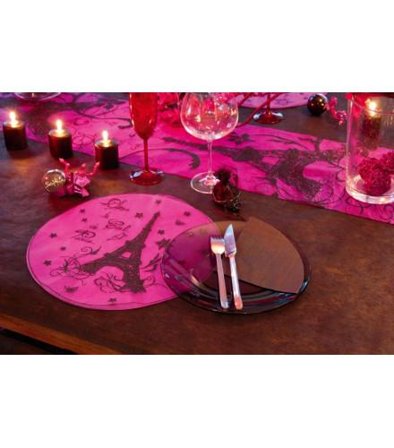 6 sets de table Paris Tour Eiffel colorés en organdi ronds