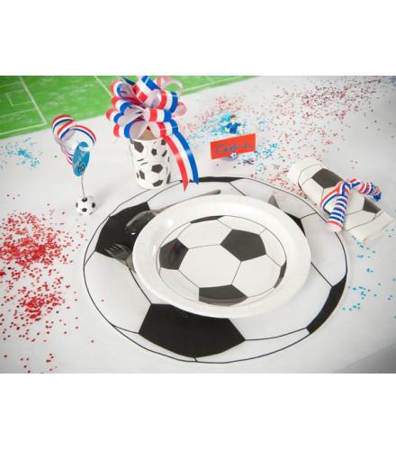 6 sets de table ballon de foot en tissu ronds
