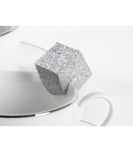 12 cubes pailletés déco colorés en polystyrène