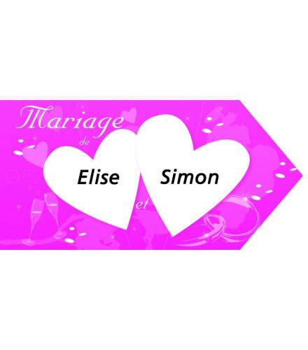 Pancarte fléche mariage en papier coloré