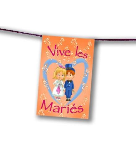 """Guirlande mariage """"vive les mariés"""" avec fanion en papier 4 m"""