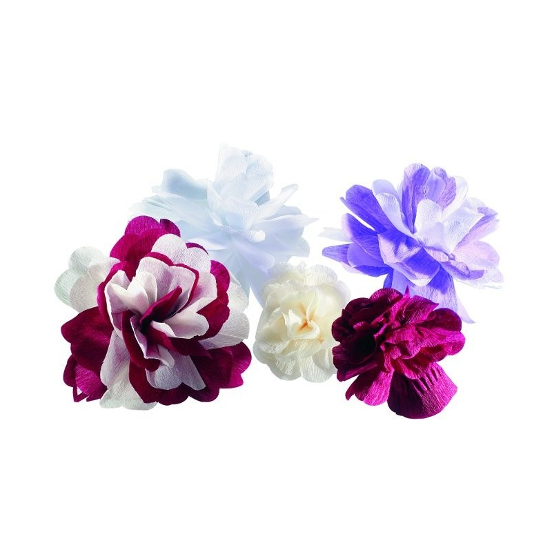 25 fleurs en papier cr pon d co drag es color es drag e d 39 amour - Deco papier crepon ...