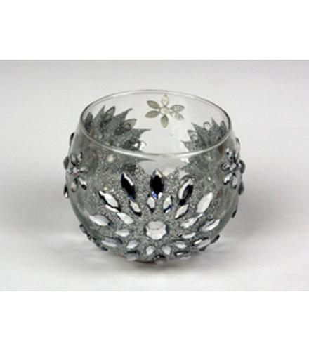 Photophore en verre transparent oriental avec strass