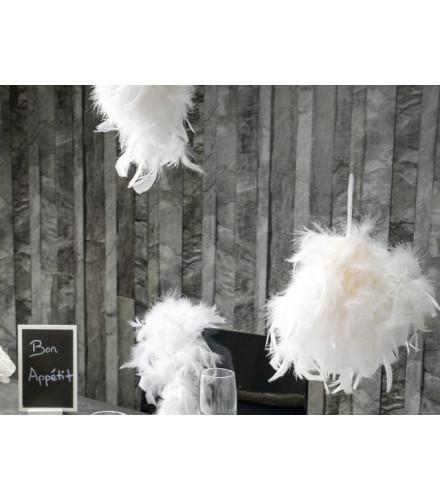 Suspension mariage boule en plumes colorées 10 cm