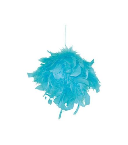 Suspension plumes colorées forme boule 10 cm
