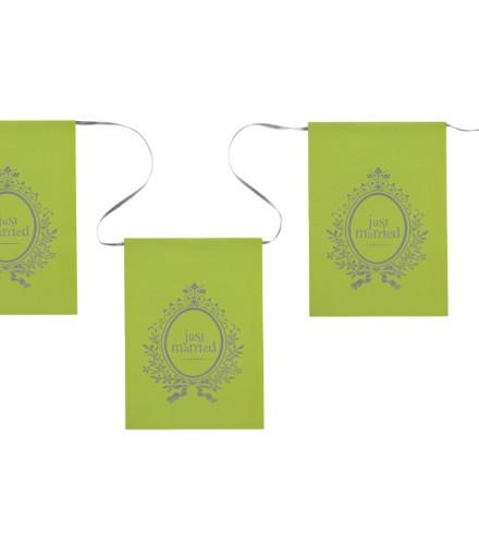 "Guirlande mariage fanion ""just married"" en carton vert/fuchsia 6 m"