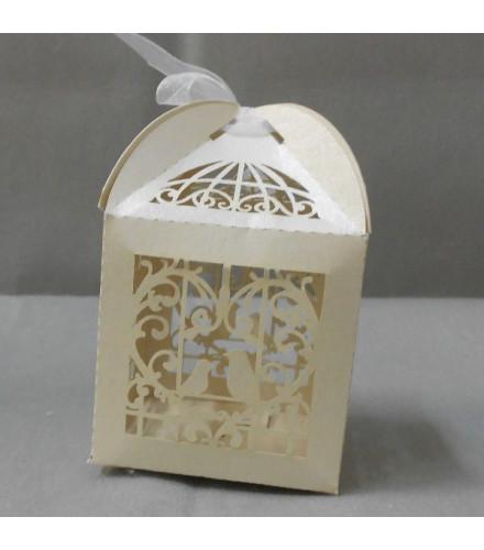 10 Boîtes à dragées chic cage à oiseau carton ivoire