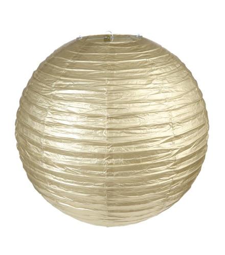 2 lanternes papier métallisées dorées rondes