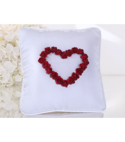 Coussin Mariage Coeur Roses Rouges