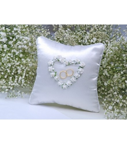 Coussin Mariage Coeur Roses Blanches