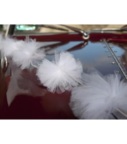 Guirlande de Pompons en Tulle Blanc
