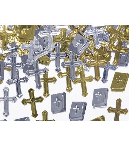 Confettis Métalliques Croix et Bibles or et argent