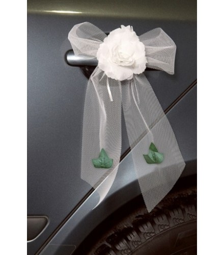 Noeud Voiture Mariage Rose Blanche