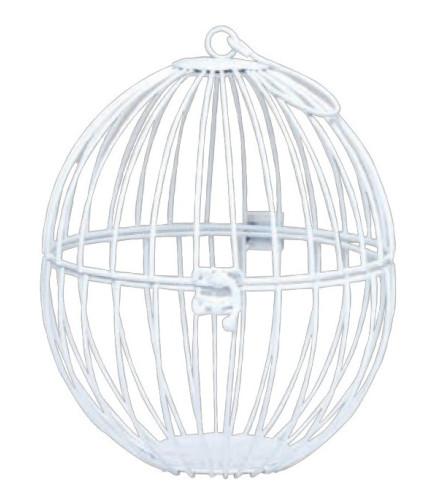 Cage Ronde Blanche à Suspendre 23 cm