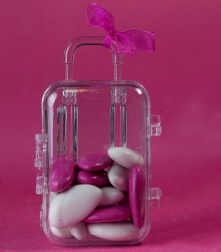 10 Contenants transparents à dragées valise à roulettes
