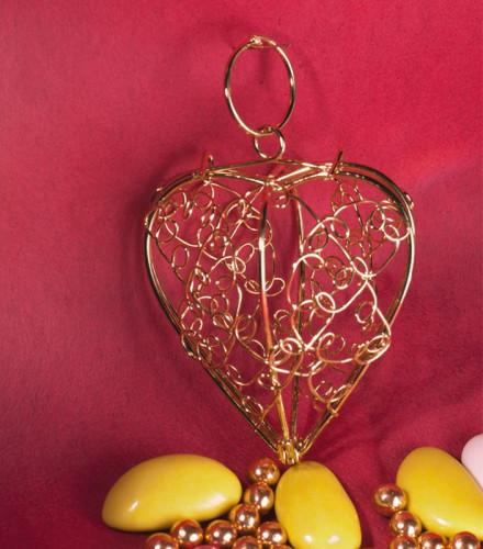 10 contenants à dragées cœur en métal filigrané or