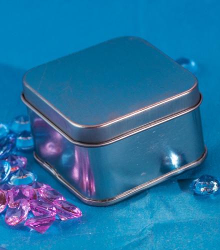 12 boîtes à dragées carrées métal argenté