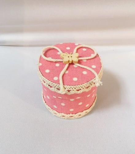 Boîte contenant à dragées ronde baptême rose