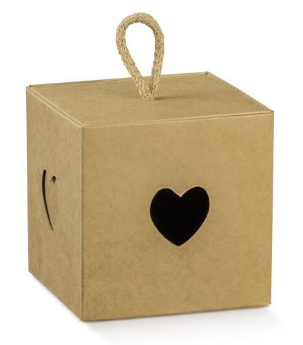 Boîtes à dragées pas chères carrées ave coeur