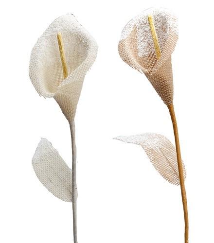 Décoration de deux fleurs en jute