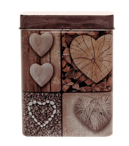 Boîte en metal mariage coeur et bois