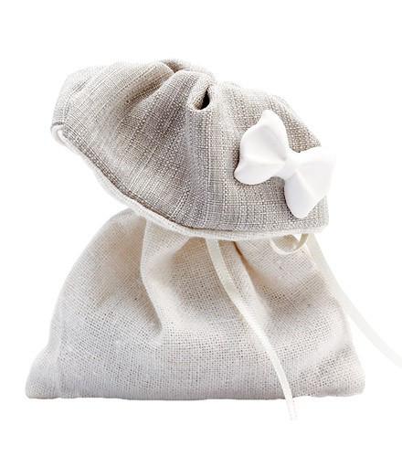 Pochon à dragées bicolore noeud discount