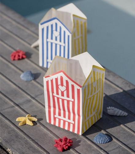 Photophores cabine de plage papier pas chers