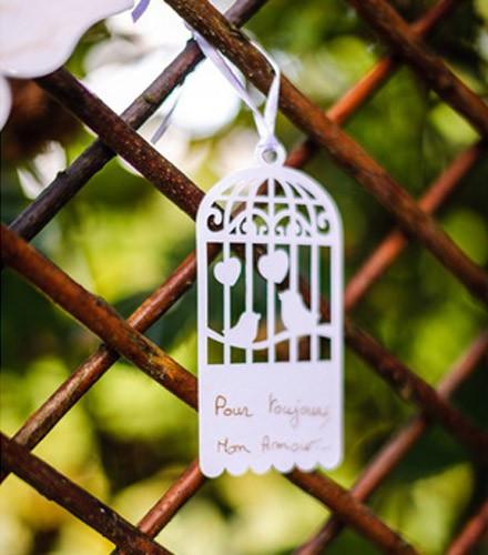 Etiquettes à dragées cage à oiseaux
