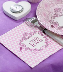 Serviettes de table discount with love
