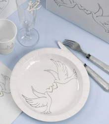 Assiettes jetables mariage colombes