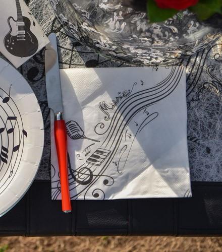 Serviettes de table originales musique