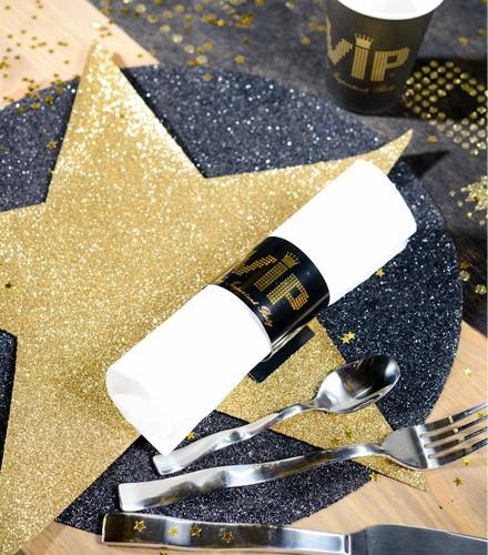 2 sets de table étoile noirs et argentés en papier pailleté