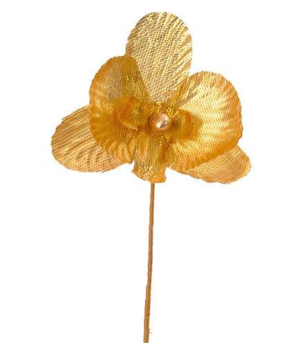 6 orchidées métallisées or avec perle pour déco contenant