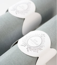 "6 ronds de serviette mariage ""Just Marries"" carton blanc"