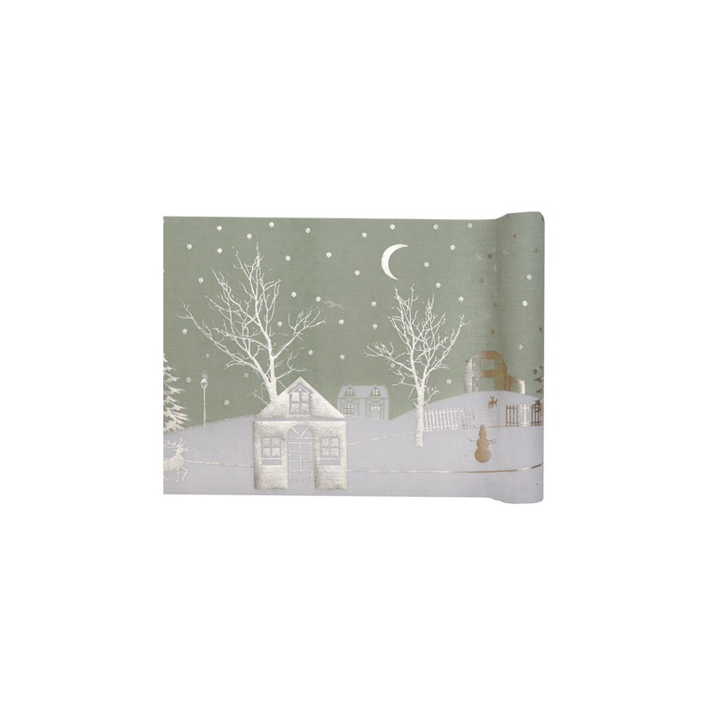 Chemin de table pour f te village de no l d coration tables - Chemin de table pour noel ...