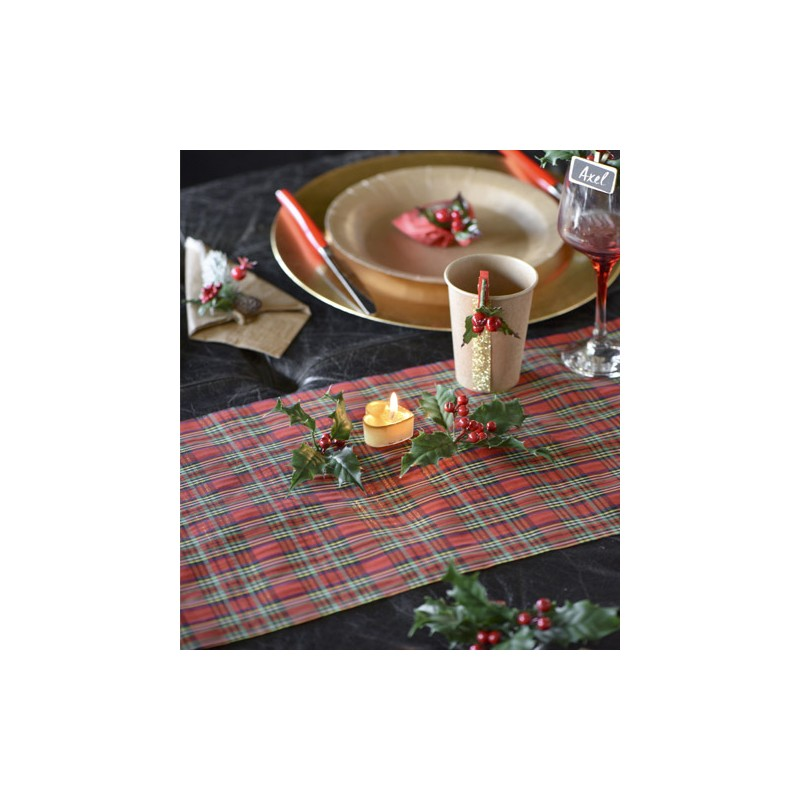 Chemin de table tendance madras de no l d coration tables - Chemin de table de noel ...